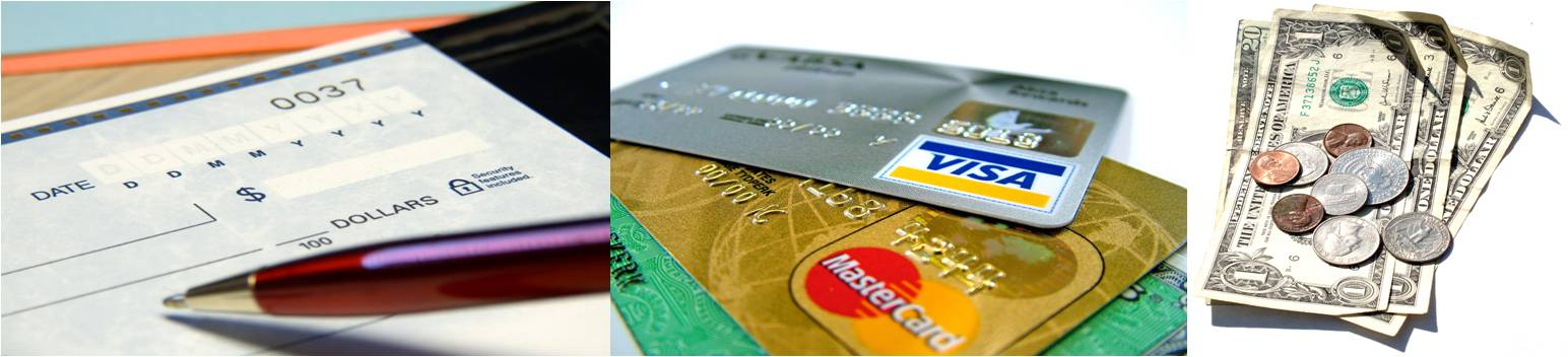 Payment Options Check, Cash or Credit Card
